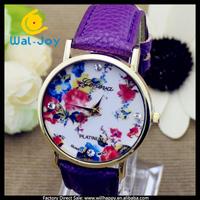 100/lot high quality smart charming flowers case fashion Geneva women watch(WJ-2852)
