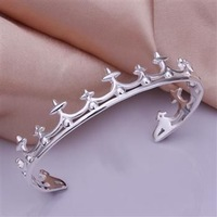 Free Shipping Fashion 925 Silver plated Crown Bangle Bracelet for Women Jewelry Factory Price SMTB177