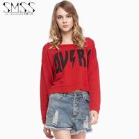 SMSS fashion autumn street casual o-neck loose rhinestones print long-sleeve short design pullover sweatshirt