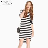 SMSS fashion classic stripe knitted one-piece dress o-neck long-sleeve sweet autumn midguts dress