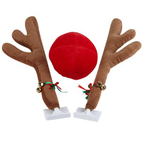 New Deer antlers Christmas Car Decorations Reindeer Vehicle Costume with Jingle Bells