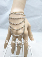 Retail Style S006 free ship Gold/Silver Women Fashion Jewelry Metal Hand Chain finger Bracelets Bangle Chains  Body chain