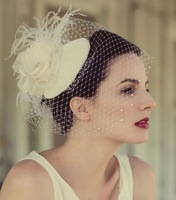 Ivory Blusher  Feathers Flower Short Wedding Veils with Hat Free Shipping