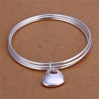 Free Shipping Fashion 925 Silver Triple Circle heart Bangle Bracelet for Women Jewelry Factory Price SMTB175