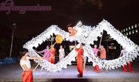18m Length Size 3 gold plated silver  LED light  Chinese DRAGON DANCE ORIGINAL  Folk  Celebration Spring Festival Costume