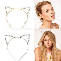 Korean Hair headwear imitation Pearl Diamond hairpin ONE SPO Cat Ears Pearl Hairband Headband Hair Masuwaka Tsubasa