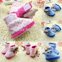 New0-18M Baby Boy Girl 3D Doll Polka Dot Fleece Snow Boots Soft Cartoon BootiesFree&Drop Shipping