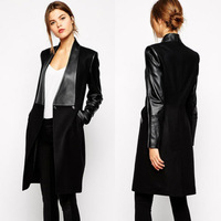 Fashion cool Vogue Ladies spliced PU Leather collar&sleeves Lapel Long Sleeve Blazer Wool formal Coat trench Slim Outerwear