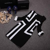 women fashion vintage black white geometric 3/4 sleeve slim casual dresses ,work dress T20
