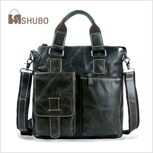 SHUBO Genuine Leather Bags Hot Men Shoulder Messenger Bag Oil Wax Cowhide Laptop Business Casual Handbag Briefcase Tote SH117(China (Mainland))