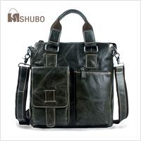 SHUBO Genuine Leather Bags Hot Men Shoulder Messenger Bag Oil Wax Cowhide Laptop Business Casual Handbag Briefcase Tote SH117