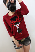 2014 autumn three-dimensional bow girl patchwork slim all-match sweater basic shirt