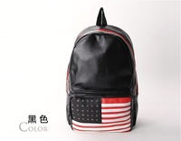 Free shipping hot sale hot bag woman bag 2014  American Flag Rivet backpack Fashion Student bag School bag Hot sale bag