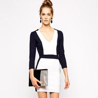 2014 Women Autumn Three Quarter Sleeve Dress Fashion V-Neck Colors Patchwork Skinny Mini Dresses DR1044