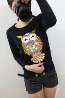 2014 women's embroidery paillette slim all-match owl sweater female