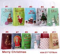 Christmas series paper gift bag with handle, 21*13*8cm, Fashionable christmas bag, Wholesale price  (tt-1360)