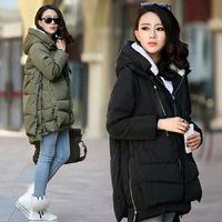 free shipping 2014 new women Europe style fashion loose medium long autumn winter plus size down parkas lady don coat hot
