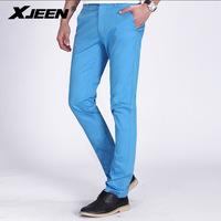 brand higth quality new antumn Men's blue soild color casual Pant waist pants slim gentleman joggers