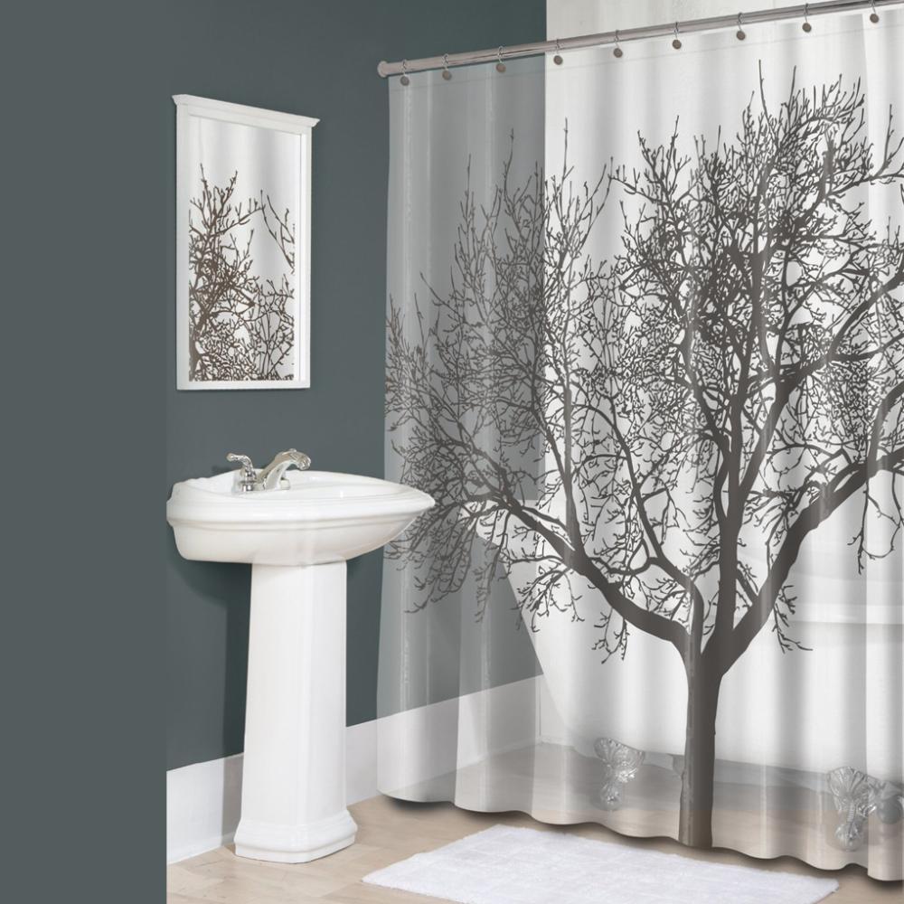 180*180CM Tree Design Polyester Waterproof Bathroom Bath Shower Curtain Free 12 Hooks hot saling(China (Mainland))