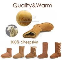 Australia Brand Ladies Ankle Fur Sheepskin Snow Suede Boots Women For Men Winter Shoes Bailey Button Triplet Plus Big Size 11 12