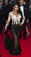 New Charming White And Black Long Sleeves Applique See Through Prom Celebrity Red Carpet Dresses