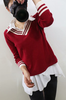 2014 all-match neckline stripe turn-down collar long-sleeve pullover sweater female knitted twinset