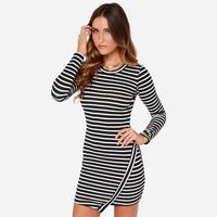 Fashion Joker Striped Slim Dress Women Autumn Long Sleeve Sexy Skinny Hem Asymmetry Dresses DR1046
