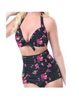 2014 New Arrival Large Size L,XL,XXL Sexy Tankinis Sets Leopard,Rose Women High Waist Swimwear Vintage Designer Swimming bikinis