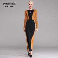 Twods 2014 new Differentes winter autumn long dress women very slim sexy long sleeves dress vestidos plus size s-xxxl