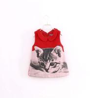 fashion cartoon cat children girl lovely red wool dress 2-7 years