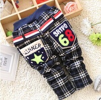 Free shipping 2014 winter new baby boy all-match Plaid trousers panty baby boy pants B064