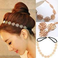 Fashion Rose Flower Elastic Hair Band Headband Vintage Lovely Metallic Hollow Rose Flower Elastic Hair Band Headband Lady Gift