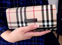 New Arrival Fashion 2014 Long Women Wallet Plaid Female Folding Clutches Purse Money Clips Black/Yellow