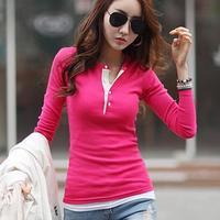 6Color Fashion Elegant T-shirt Cheap Bodycon Colorful Long Sleeved Cotton Basic Tops Sport Casual Roupas Femininas S-2XL 5667