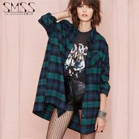 SMSS fashion medium-long classic bf top outerwear fashion loose red plaid shirt
