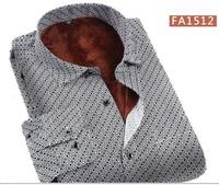 2014 Men Winter Shirts Male Polka Dot Printed Warm Shirt Plus Thick Velvet Fashion Casual Winter Shirt