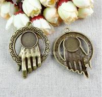 (A2054) 20pcs/lot size 52*37mm fitting 14mm  bronze palm Antique diy pendant Jewelry findings  nickel free zakka
