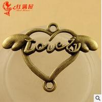 A3601  50pcs/lot size 40*29mm color bronze love Wings  Antique diy pendant Jewelry findings nickel free zakka