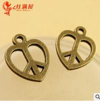 A3592  200pcs/lot size 12*14mm color bronze    peace symbol  Antique diy pendant Jewelry findings nickel free zakka