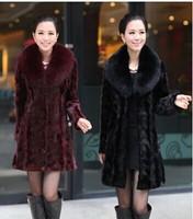 Fashion Winter Warm Womens Luxury Faux Mink Fur Long Coat Jacket Outwear/Faux Fur Turn-down Collar Coats Women