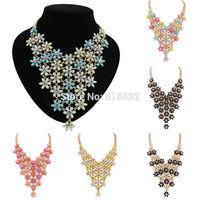 2014 New Design High Quality Fashion Charm Chain Crystal Flower Choker Chunky Statement Bib Necklace Collar Pendants 6 Colors