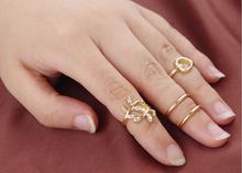 2014 TJ018 4pcs lot Artilady gold plated midi 4pcs set stacking rings fashion lovely bowknot women