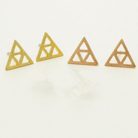 Wholesale New 2014 Fashion 18K Gold Plated Geometric Stud Earrings Vintage Hexagon Earring for Women Free Shipping