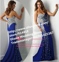 Free Shipping Sweetheart Luxurious Heavy Handwork Crystal Mermaid Prom Dresses 2014 Mermaid Floor Length Navy Blue Prom Dresses