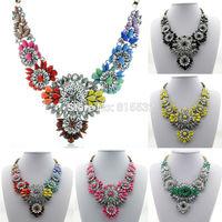 Free Shipping Necklaces & Pendants Fashion Brand Crystal Flower Choker Resin Necklace Luxury Chunky Big Bib Statement Jewelry