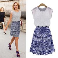 2014 Casual Desigual Women Knee-Length Maxi Dress Vestidos Casual Free Shipping 2014 XZX19093