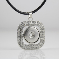 6pcs/lot fashion silver plated square rhinestone snap necklace pendant jewelry ginger snap charm button pendant Free ship