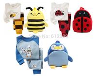 Boys and Girls Long Sleeve Bee and Ladybug Pyjamas Sets with Cartoon Bags 2pc clothing sets for 2-7 years sleepwear