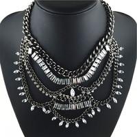 2014 Luxury statement chuky necklace & pendant fashion crystal neckalce for women brand name bib chain neckalce in new designer