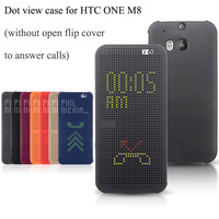 M8 Dot View Smart Wake UP Design Phone Cases For HTC One M8 Case Silicon Flip Cover Free Shipping